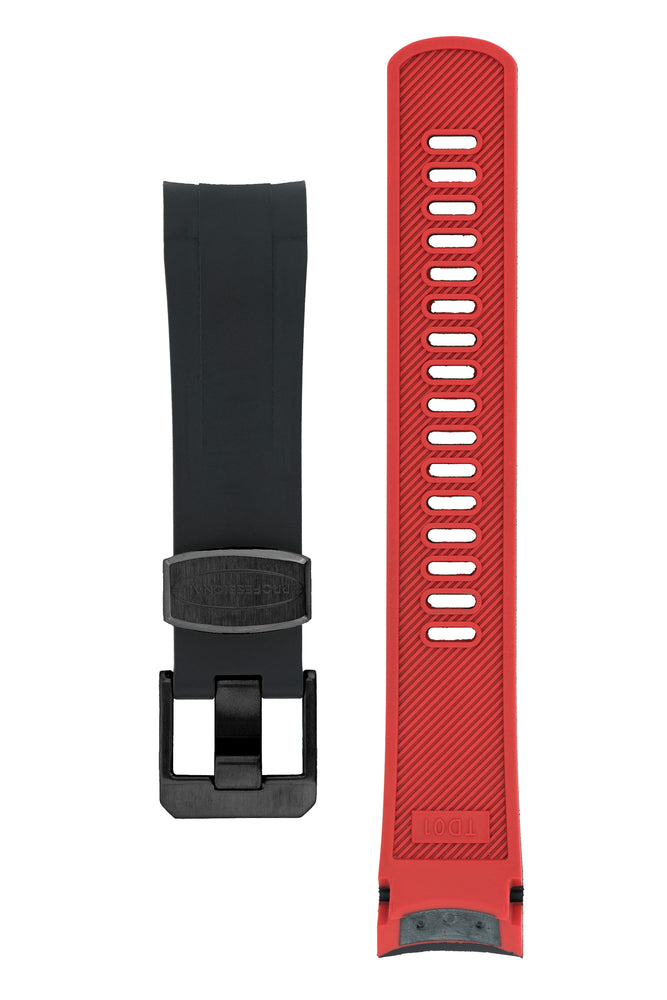 Crafter Blue Rubber Watch Strap for Tudor Black Bay Series in Black & Red (Black PVD Hardware)