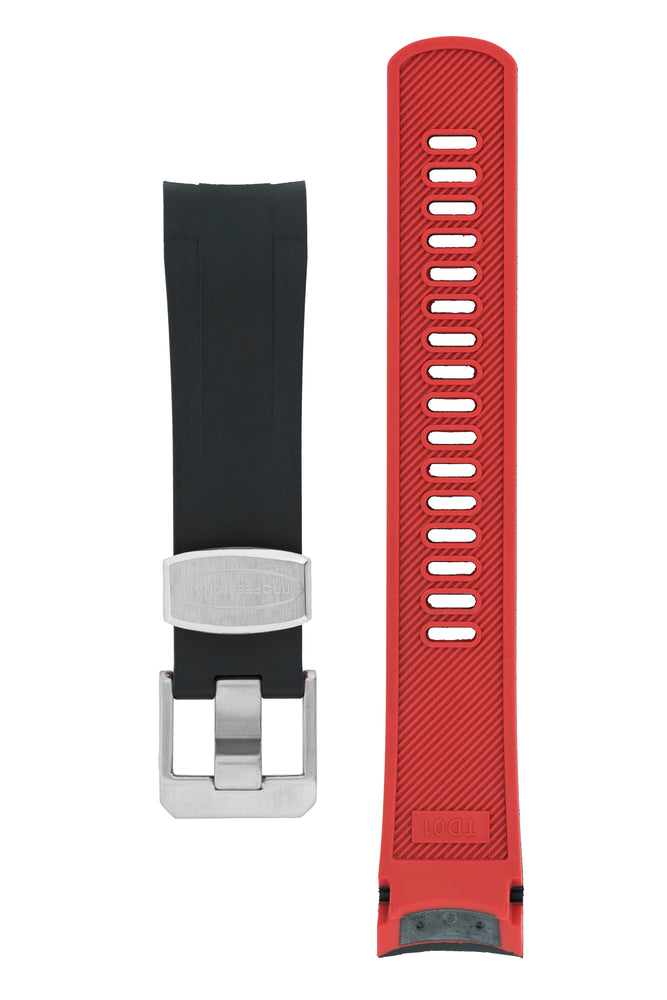 Crafter Blue Rubber Watch Strap for Tudor Black Bay Series in Black & Red