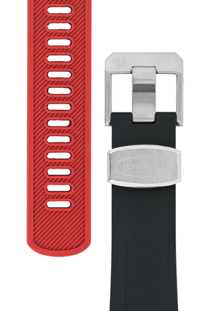 Crafter Blue Rubber Watch Strap for Tudor Black Bay Series in Black & Red (Tapers & Buckle)