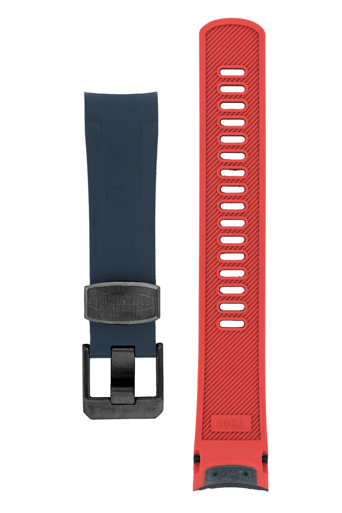 Crafter Blue Rubber Watch Strap for Tudor Black Bay Series in Navy Blue & Red (Black PVD Hardware)