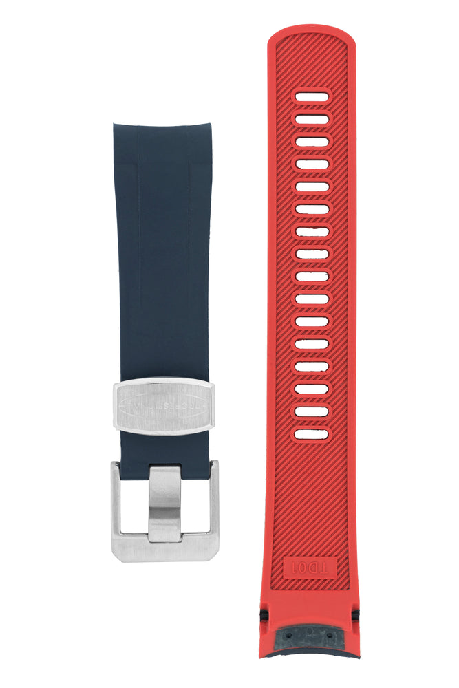 Load image into Gallery viewer, Crafter Blue Rubber Watch Strap for Tudor Black Bay Series in Navy Blue & Red