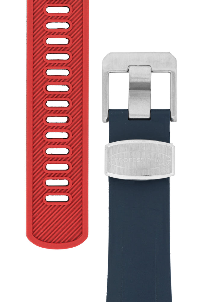 Load image into Gallery viewer, Crafter Blue Rubber Watch Strap for Tudor Black Bay Series in Navy Blue & Red (Tapers & Buckle)