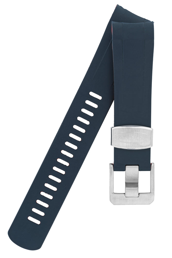 Crafter Blue Rubber Watch Strap for Tudor Black Bay Series in Navy Blue & Red