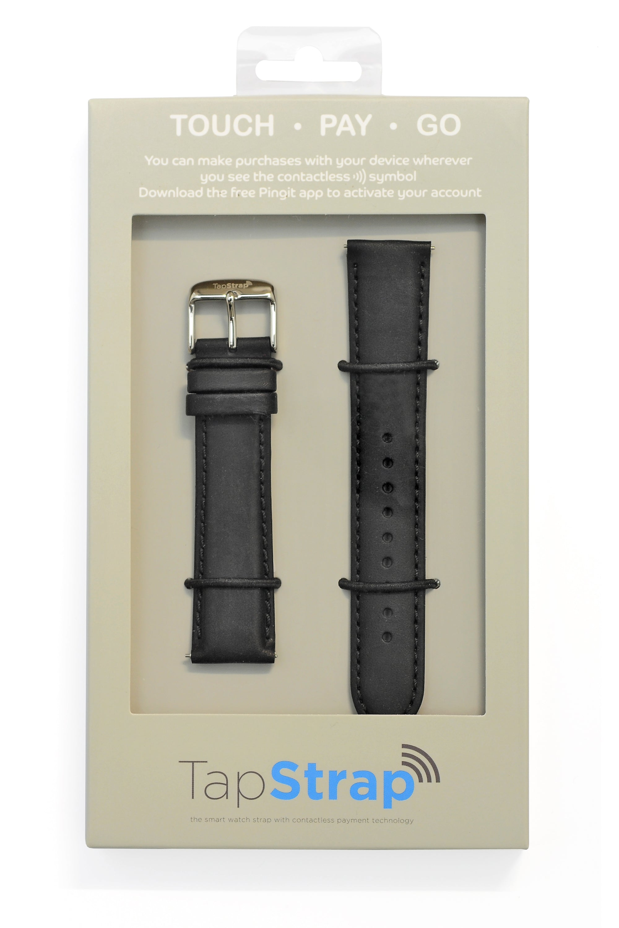 TAPSTRAP Leather Watch Strap for Contactless Payments - BLACK (T&Cs Apply)