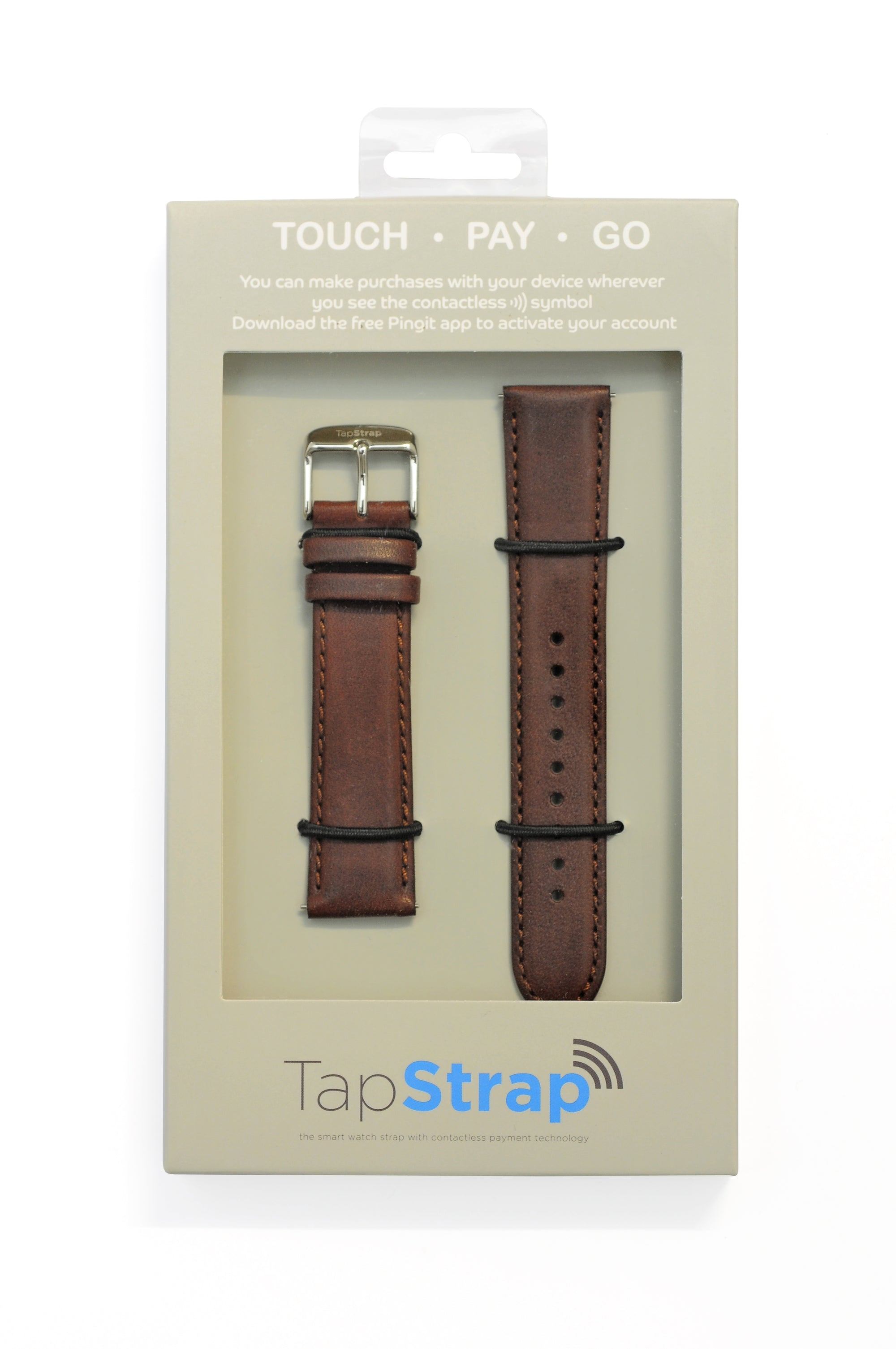 TAPSTRAP Leather Watch Strap for Contactless Payments - BROWN