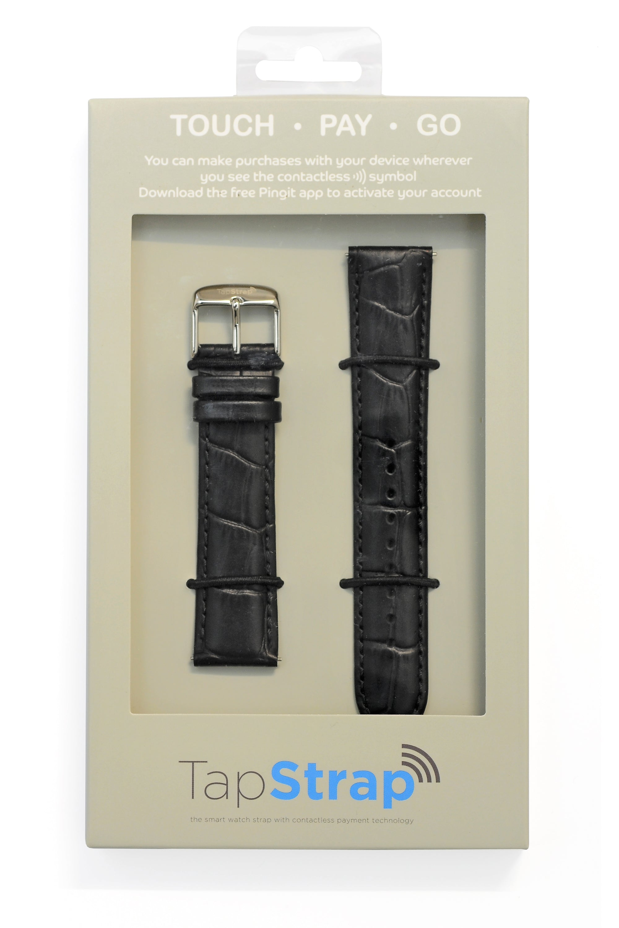 TAPSTRAP Crocodile-Embossed Leather Watch Strap for Contactless Payments - BLACK (T&Cs Apply)
