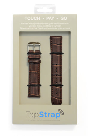 Load image into Gallery viewer, TAPSTRAP Crocodile-Embossed Leather Watch Strap for Contactless Payments - BROWN