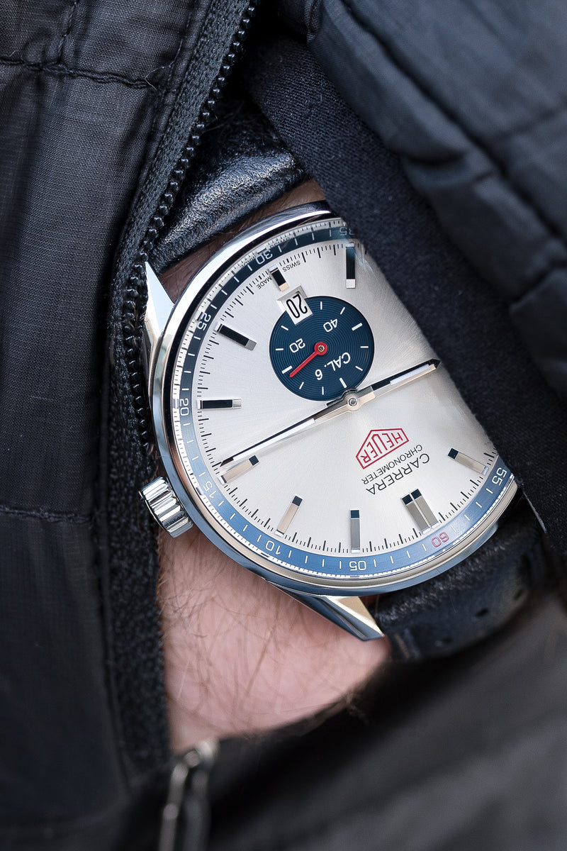 TAG HEUER Carrera Heritage WV5111.FC6350 Calibre 6 Automatic Watch 39mm – Silver & Blue Dial