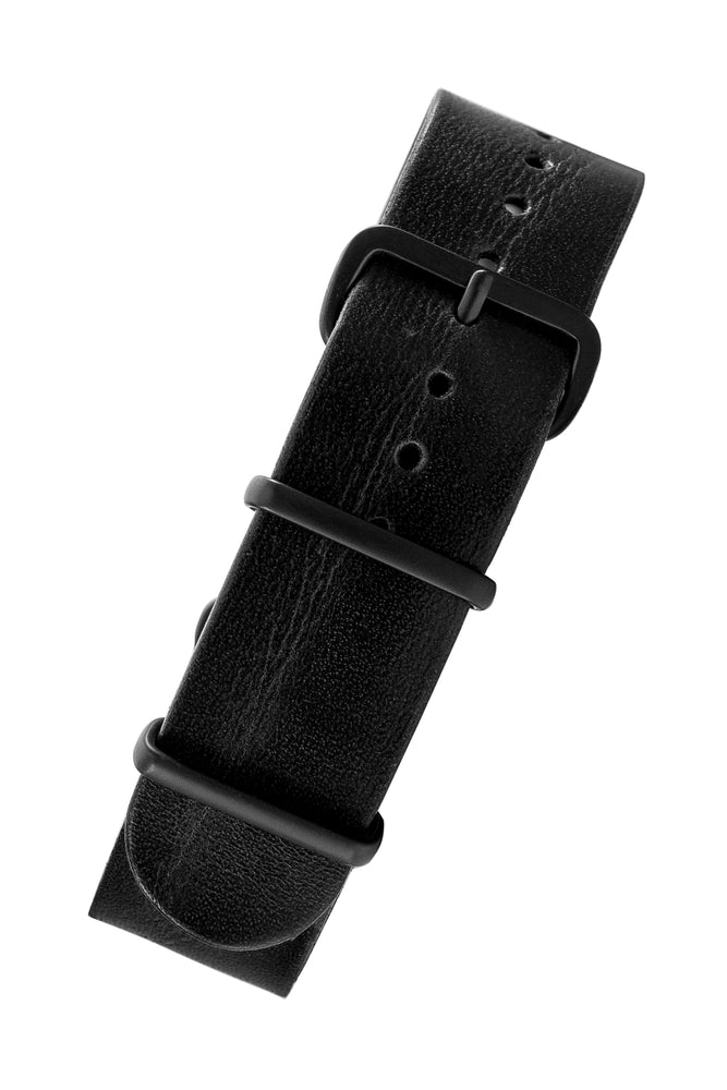 TANNER BATES Leather NATO Watch Strap with Black PVD Hardware in BLACK