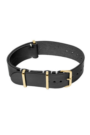 TANNER BATES Leather NATO Watch Strap with Gold Hardware in BLACK
