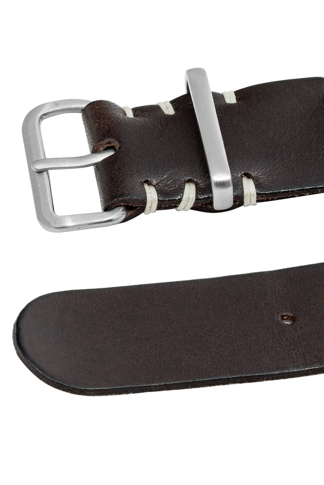 TANNER BATES Leather NATO Watch Strap with Brushed Hardware in ESPRESSO