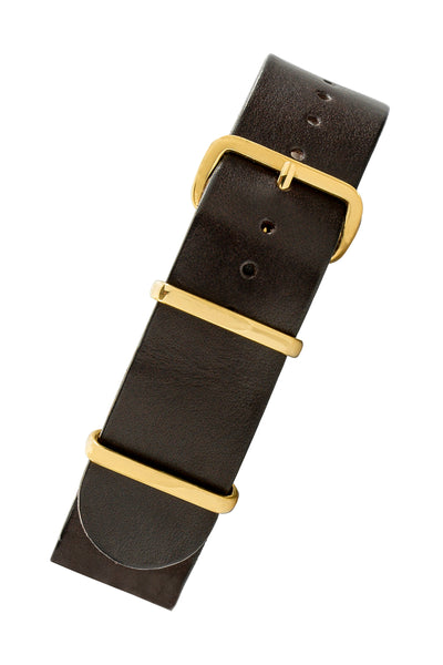 TANNER BATES Leather NATO Watch Strap with Gold Hardware in ESPRESSO