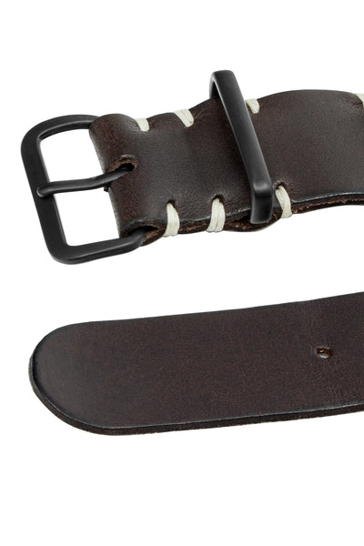 TANNER BATES Leather NATO Watch Strap with Black PVD Hardware in ESPRESSO