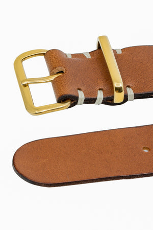TANNER BATES Leather NATO Watch Strap with Gold Hardware in SADDLE TAN