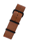 TANNER BATES Leather NATO Watch Strap with Black PVD Hardware in SADDLE TAN