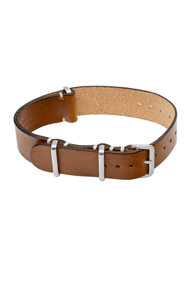 TANNER BATES Leather NATO Watch Strap with Brushed Hardware in SADDLE TAN