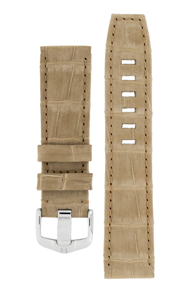 Hirsch TRITONE Nubuck Alligator Leather Watch Strap in BEIGE