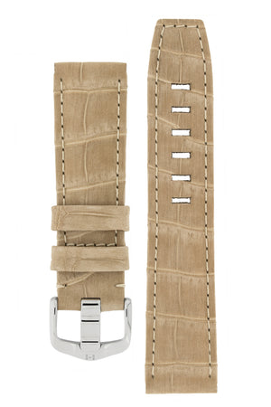 Hirsch TRITONE Nubuck Alligator Leather Watch Strap in BEIGE with WHITE Stitching