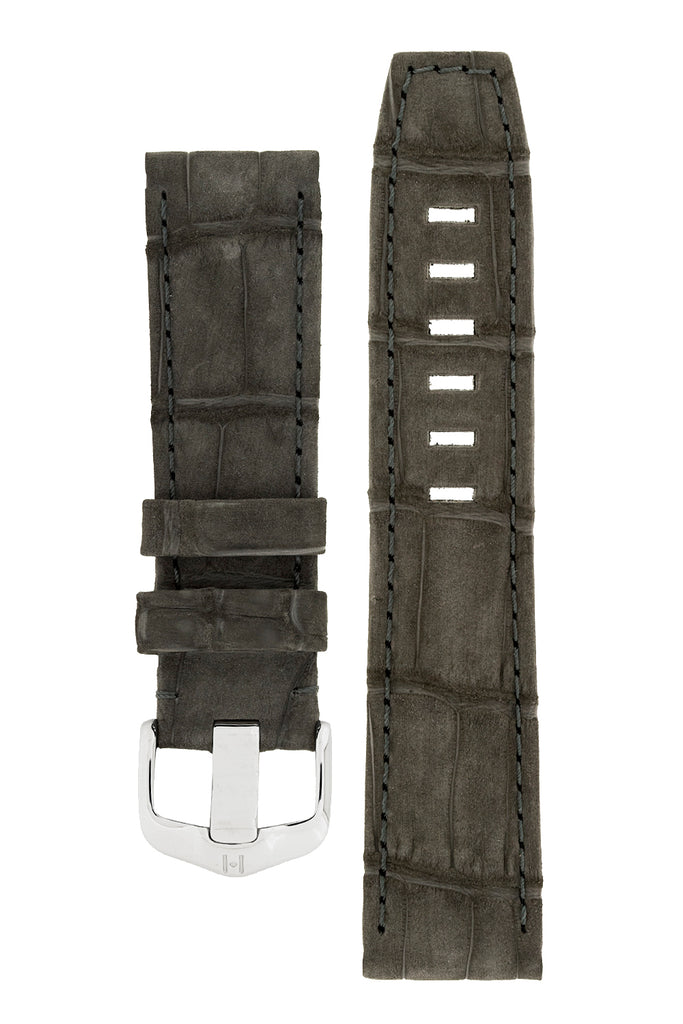 Hirsch TRITONE Nubuck Alligator Leather Watch Strap in BLACK