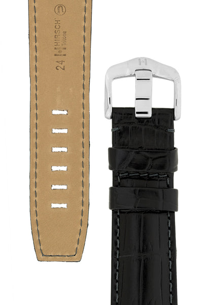 Hirsch TRITONE Padded Crocodile Leather Watch Strap in BLACK