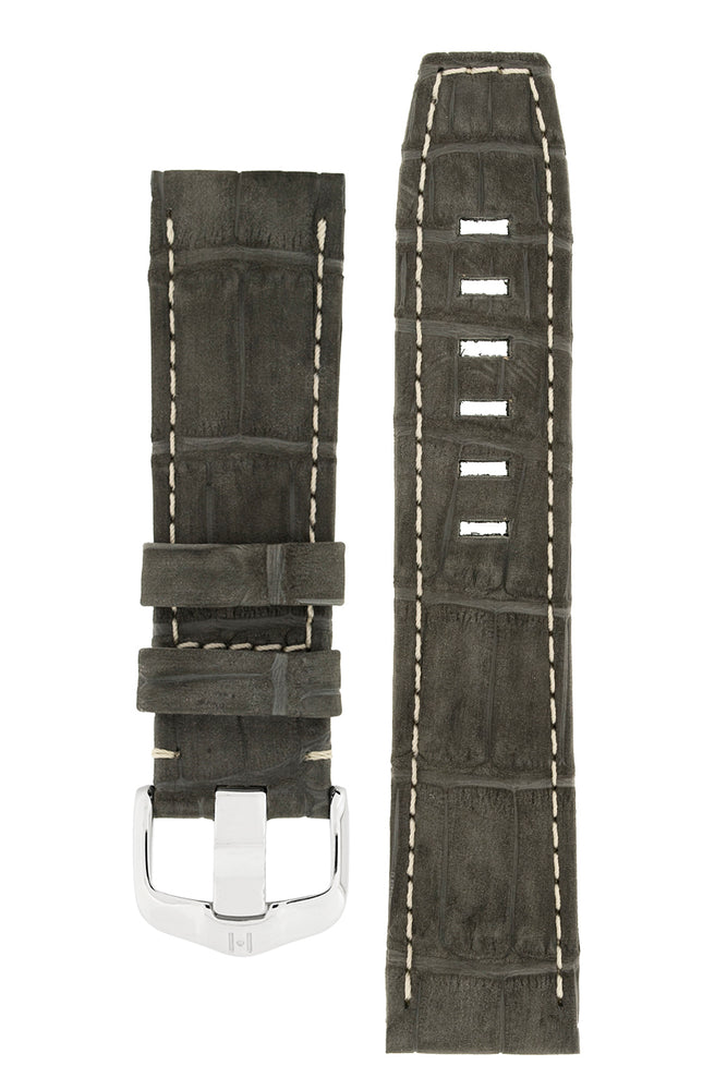 Hirsch Tritone Nubuck Alligator Leather Watch Strap in Black with White Stitch (with Special Stainless Steel Wide-Tang Hirsch Buckle)