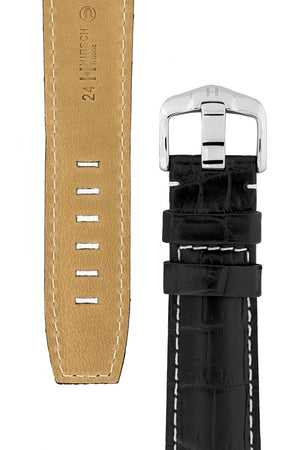 Hirsch TRITONE Padded Crocodile Leather Watch Strap in BLACK With WHITE Stitching