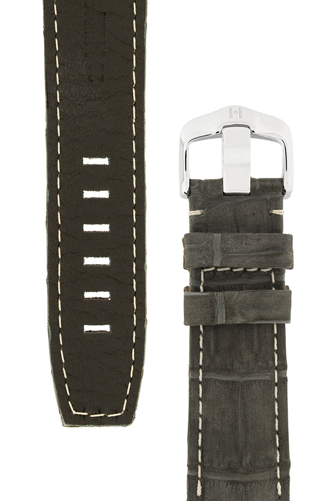 Load image into Gallery viewer, Hirsch Tritone Nubuck Alligator Leather Watch Strap in Black with White Stitch (Underside & Tapers)