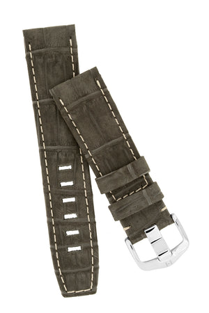 Load image into Gallery viewer, Hirsch Tritone Nubuck Alligator Leather Watch Strap in Black with White Stitch