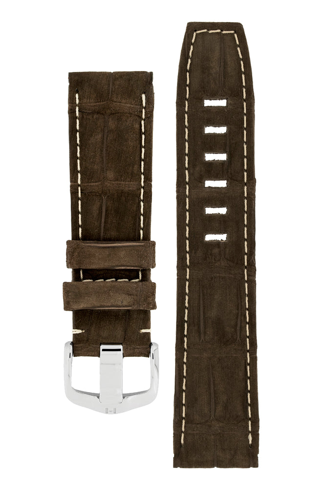Hirsch Tritone Nubuck Alligator Leather Watch Strap in Brown with White Stitch (with Special Stainless Steel Wide-Tang Hirsch Buckle)