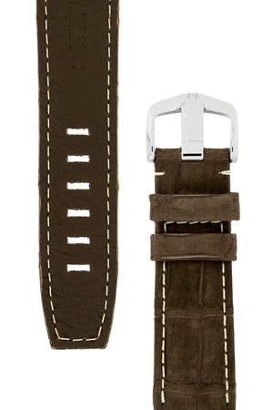 Load image into Gallery viewer, Hirsch Tritone Nubuck Alligator Leather Watch Strap in Brown with White Stitch (Underside & Tapers)