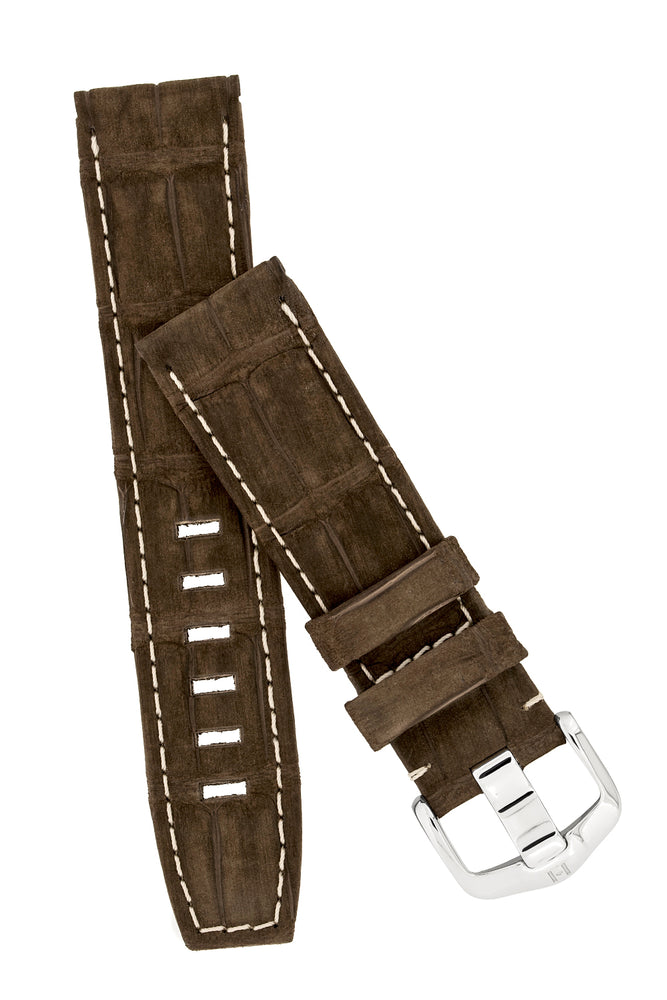 Load image into Gallery viewer, Hirsch Tritone Nubuck Alligator Leather Watch Strap in Brown with White Stitch