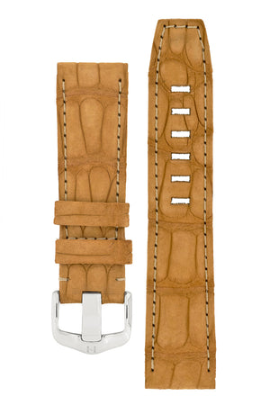 Hirsch Tritone Nubuck Alligator Leather Watch Strap in Gold Brown (with Special Stainless Steel Wide-Tang Hirsch Buckle)