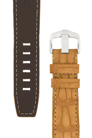 Hirsch Tritone Nubuck Alligator Leather Watch Strap in Gold Brown (Underside & Texture Detail)