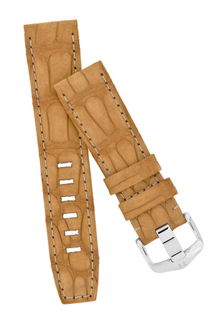 Hirsch Tritone Nubuck Alligator Leather Watch Strap in Gold Brown