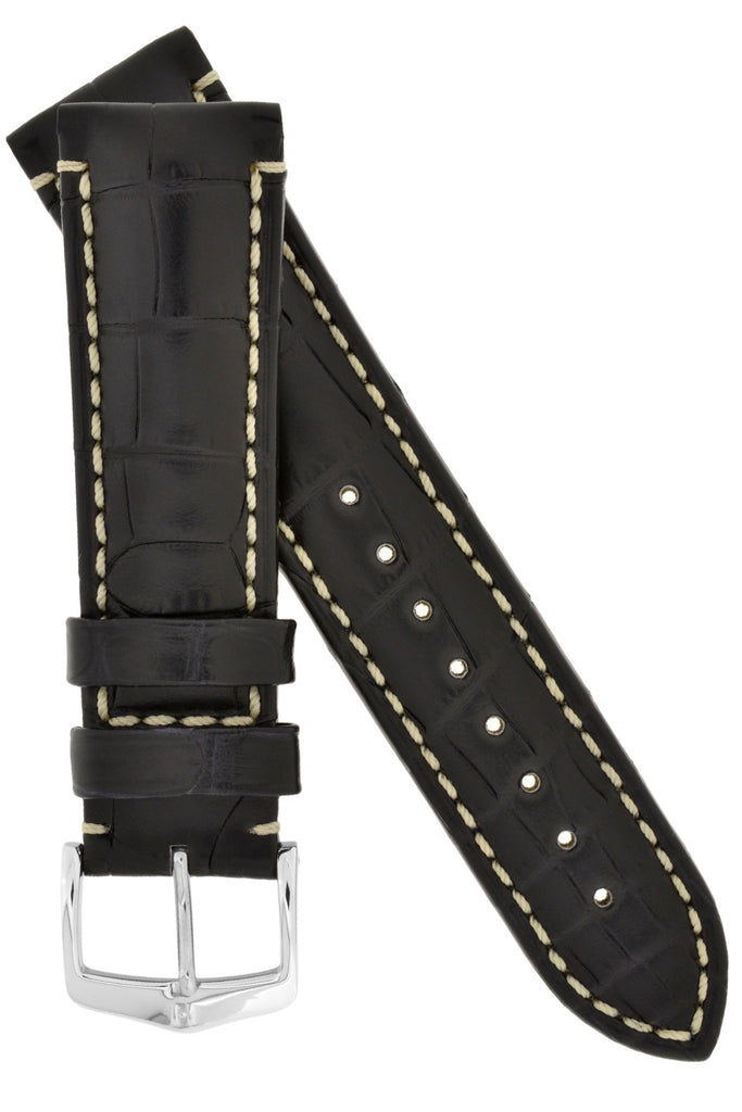 Hirsch VISCOUNT Waterproof Alligator Leather Watch Strap in BLACK