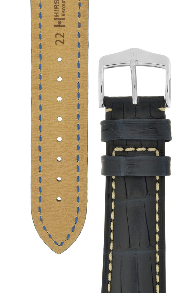 Hirsch VISCOUNT Waterproof Alligator Leather Watch Strap in BLUE