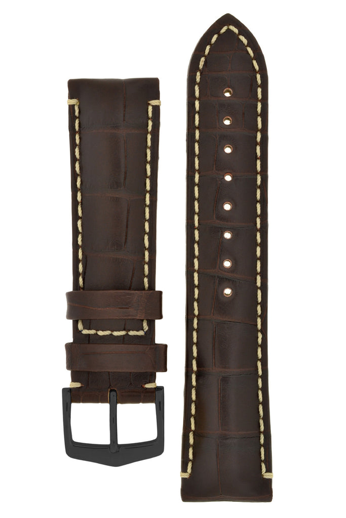 Hirsch VISCOUNT Waterproof Alligator Leather Watch Strap in BROWN