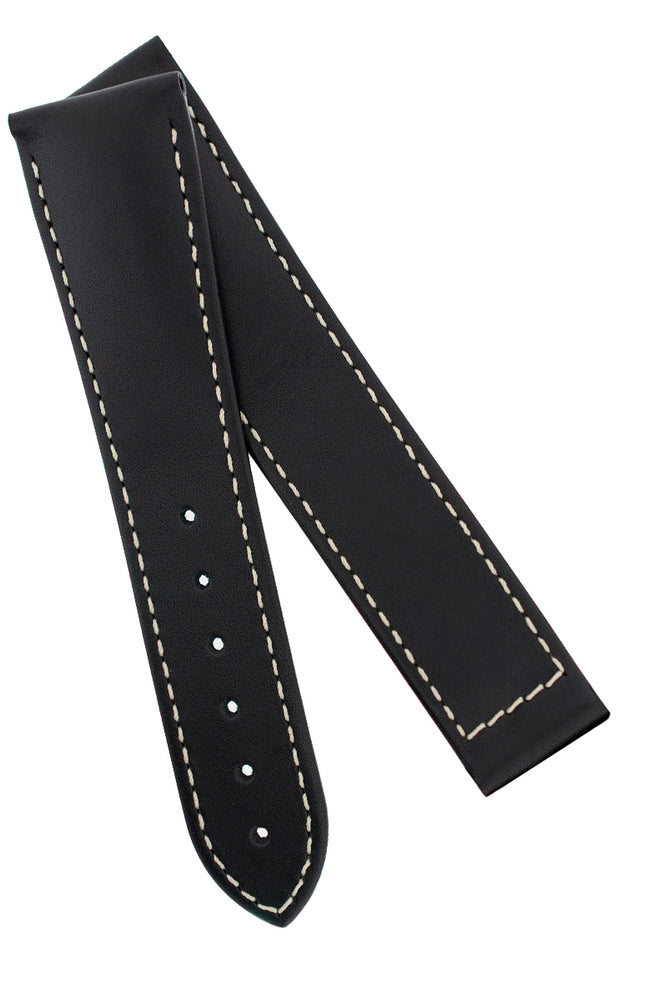 Hirsch VOYAGER Calfskin Deployment Watch Strap in BLACK/WHITE