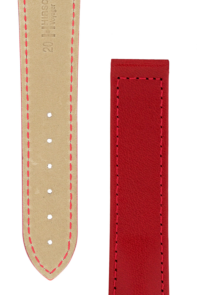 Hirsch VOYAGER Calfskin Deployment Watch Strap in RED/RED
