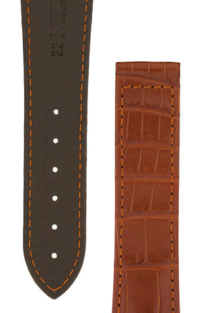Hirsch VOYAGER Alligator Deployment Watch Strap in GOLD BROWN