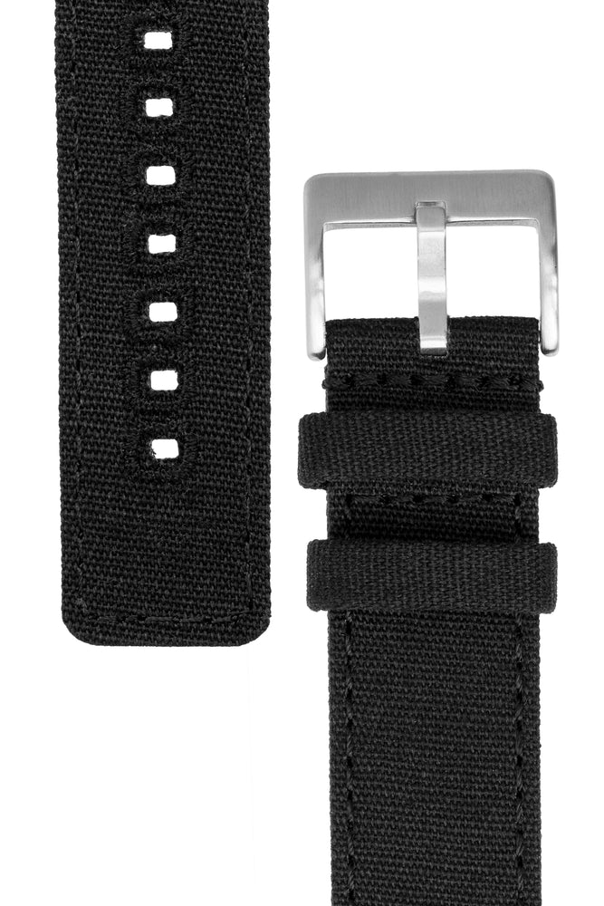 Quick-Release Canvas Watch Strap in BLACK