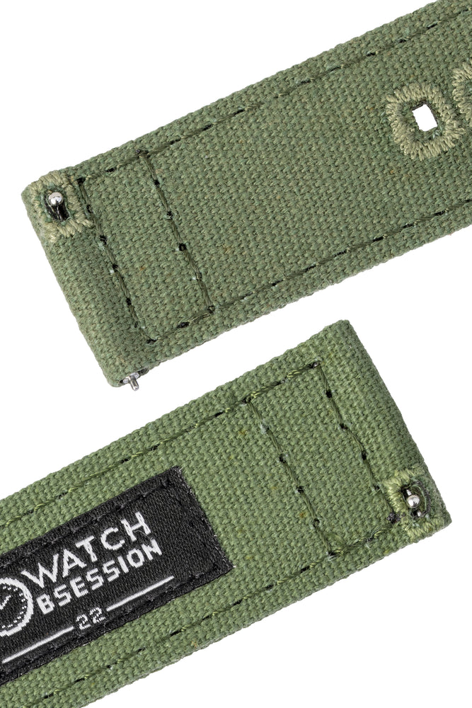 Quick-Release Canvas Watch Strap in GREEN