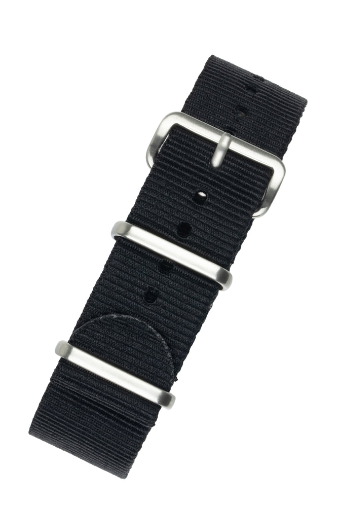 NATO Watch Strap in BLACK with Brushed Buckle and Keepers