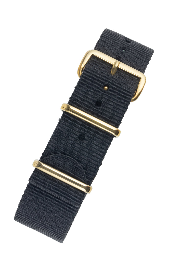 NATO Watch Strap in BLACK with Gold Buckle and Keepers