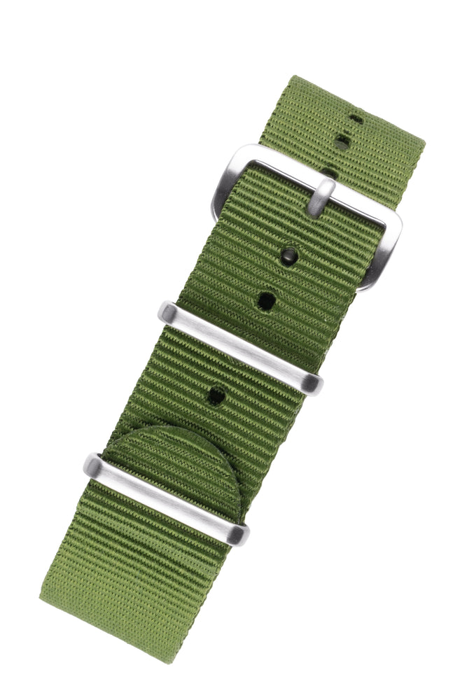 NATO Watch Strap in GREEN with Brushed Buckle and Keepers