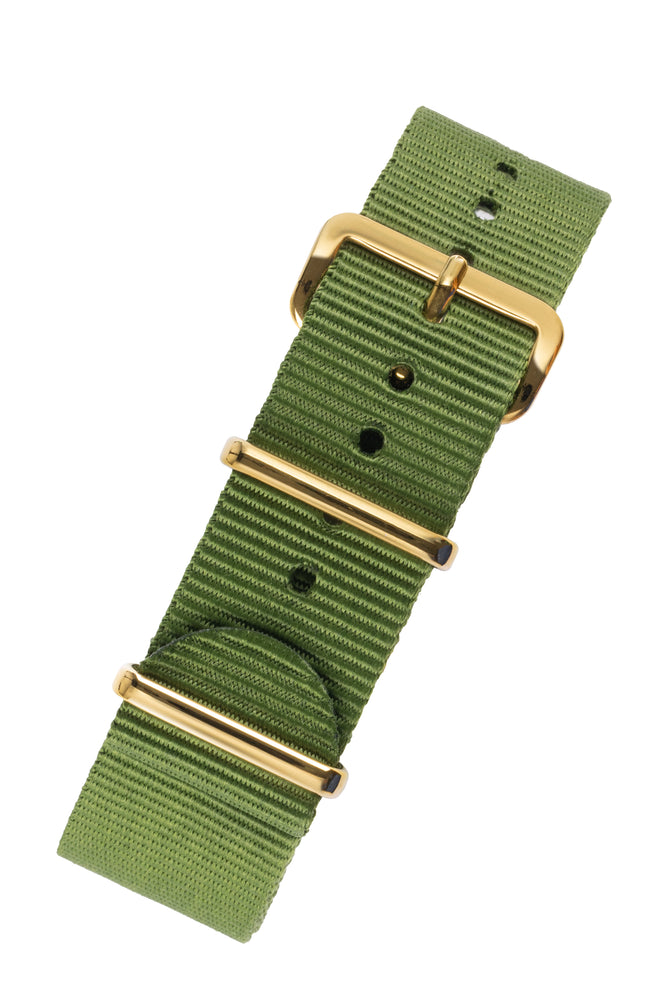 NATO Watch Strap in GREEN with Gold Buckle and Keepers