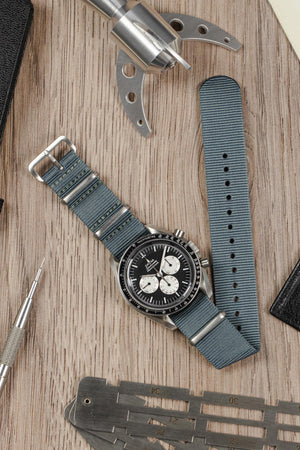 NATO Watch Strap in GREY with Brushed Buckle and Keepers