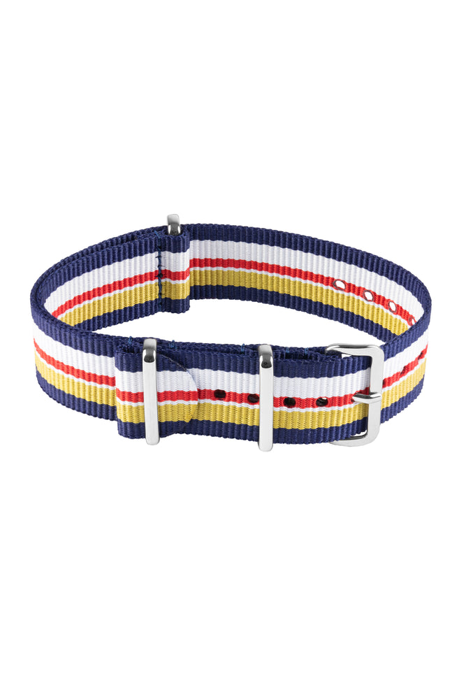 Load image into Gallery viewer, NATO Watch Strap in BLUE / WHITE / RED / YELLOW Motorsport Stripes with Polished Buckle & Keepers