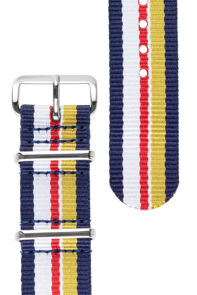 NATO Watch Strap in BLUE / WHITE / RED / YELLOW Motorsport Stripes with Polished Buckle & Keepers