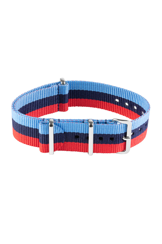 NATO Watch Strap in BLUE / NAVY / RED Motorsport Stripes with Polished Buckle & Keepers